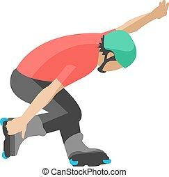 pattini, attività, movimento, rullo, uomo, trucchi, stile ...