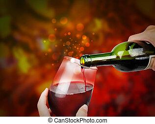 pattog, ünneplés, vörös bor