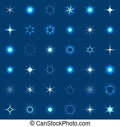 pattog, csillaggal díszít, gyűjtés, csillogó