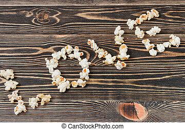 pattogatott kukorica, szeret, struktúra, háttér, egészségtelen táplálék