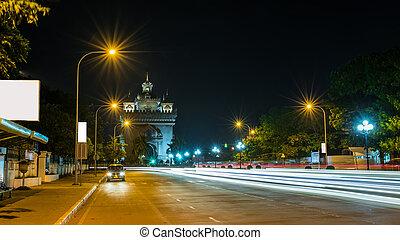 Patusay triumph arch in Vientiane Laos at night