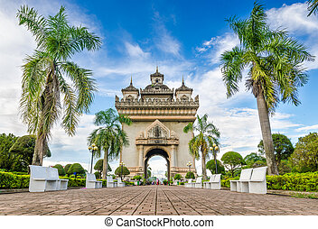 Patuxai literally meaning is a Victory Gate , formerly the Anousavary Monument, known by the French as Monument Aux Morts is a war monument in the centre of Vientiane, Laos