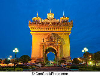Patuxai arch monument, Vientiane, the Capital of Laos, in the night.