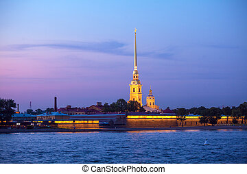 Paul and Peter Cathedral at White Night, Saint Petersburgh
