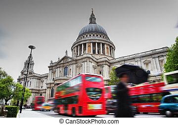paul, autobuses, c/, movimiento, uk., catedral, londres,...