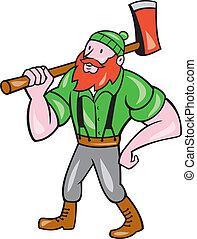 paul bunyan, houthakker, vrijstaand, spotprent