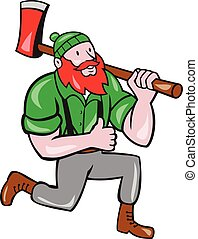 Paul Bunyan LumberJack Axe Kneeling Cartoon