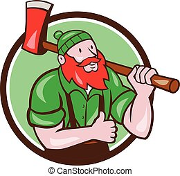 Paul Bunyan Lumberjack Axe Thumbs Up Circle Cartoon