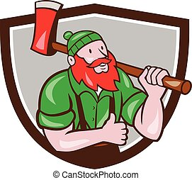 Paul Bunyan Lumberjack Axe Thumbs Up Crest Cartoon