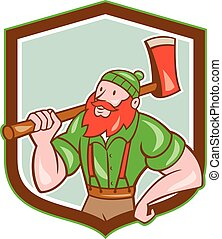 Paul Bunyan LumberJack Shield Cartoon