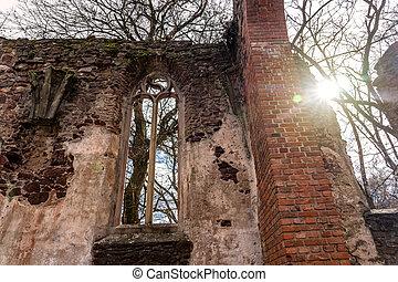 Pauline monastery ruin windows on the hungarian hiking trail near Badacsony in Salfold .