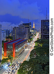 Paulista Avenue, Sao Paulo, Brasil - Night view of the...