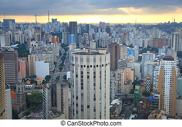 paulo, ψηλά , κτίρια , ανατολή , sao