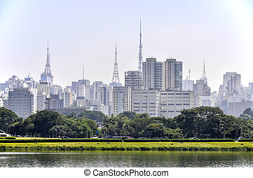 paulo, parque, (brazil), sao, rascacielos