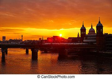 pauls, londyn, st, zachód słońca, tamiza, paweł