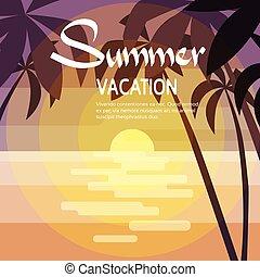 paume, coucher soleil, arbre, vacances tropicales, été, océan, île, vacances