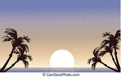 paume, entiers, silhouette, paysage, lune