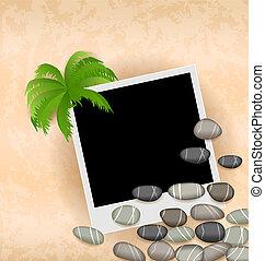 paume, fond, pierres, cadre, photo
