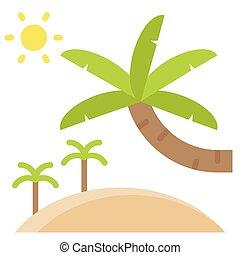 paume, icône, été, apparenté, vente, plage, vecteur