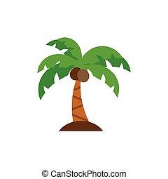 paume, icône, arbre, plat
