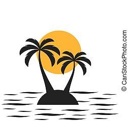 paume, island., deux, arbres