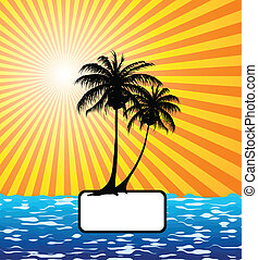 paume, mer, arbre, soleil