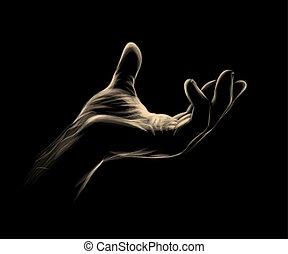paume, noir, ouvert, fond, main