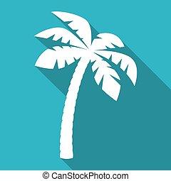 paume, ombre, arbre, long, icône
