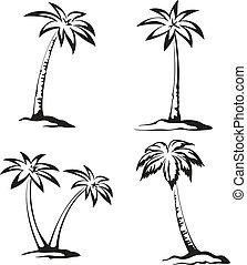 paume, pictograms, noir, arbres