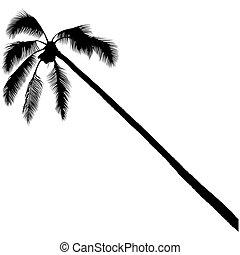 paume, silhouette, 3, arbre