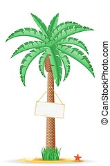 paume, vecteur, arbre, illustration, signe