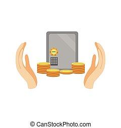 paumes, argent, sûr, deux, protégé, banque