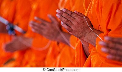 paumes, prier, ensemble, moines, mains, mettre, thaïlande, salut