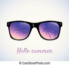 paumes, vecteur, lunettes soleil, reflet, illustration