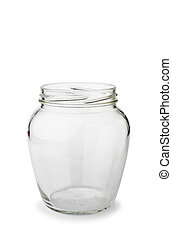 A paunchy open empty glass jar isolated on white background