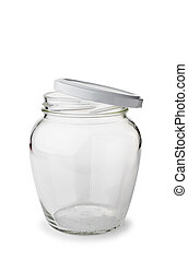A paunchy open empty glass jar with lid isolated on white background