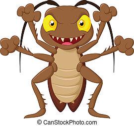 pauroso, cartone animato, scarafaggio