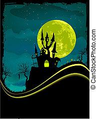 pauroso, castello, copia, halloween, space.