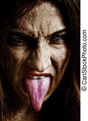 pauroso, donna, sinistro, male, lingua fuori