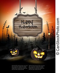 pauroso, fondo, legno, segno., halloween, zucche, vector.