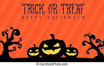 pauroso, halloween, fondo, zucca