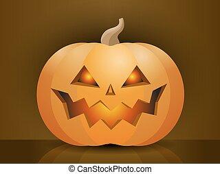 pauroso, halloween, illustrazione, faccia, vettore, zucca