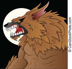 pauroso, illustrazione, lupo mannaro