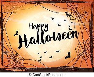 pauroso, moon., pipistrello, halloween, ragno, vettore, vector.., fondo