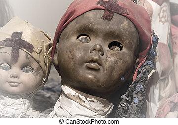 pauroso, nero, bambola, faccia
