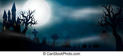 pauroso, notte, halloween, illustrationl