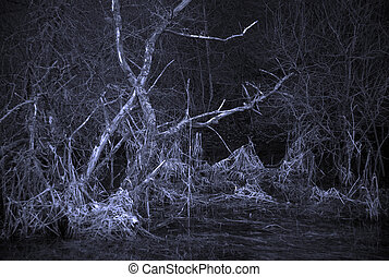 pauroso, paesaggio albero, morto