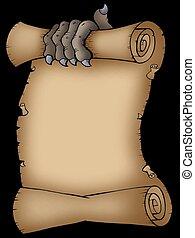 pauroso, pergamena, artiglio