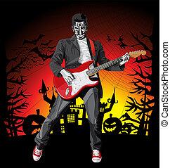 pauroso, punk, halloween, chitarra, vettore, uomo
