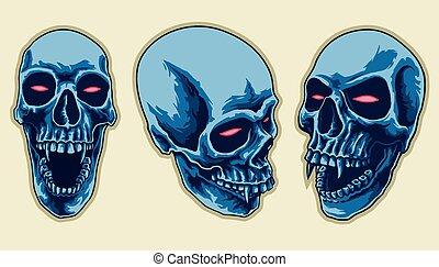 pauroso, set, cranio